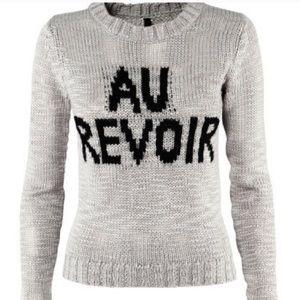 "H&M ""Au Revoir"" Grey Sweater"